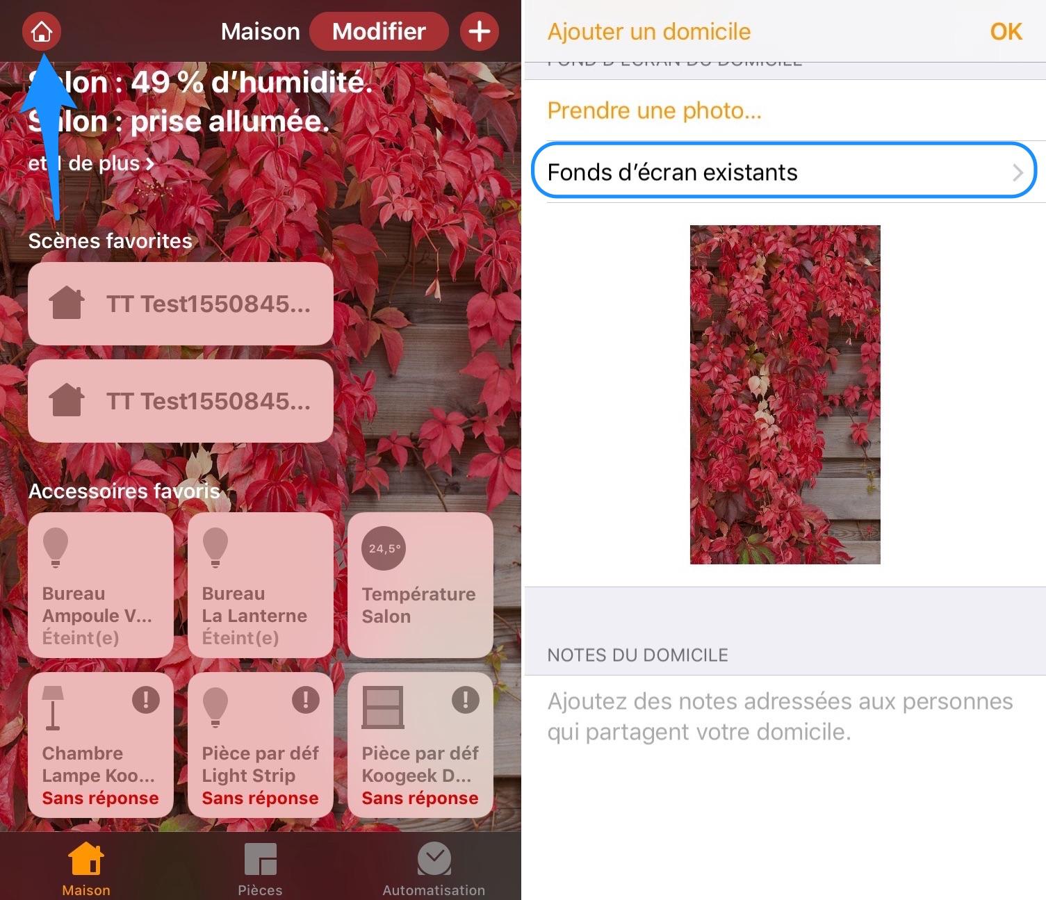 Changer fond écran app maison iOS 13