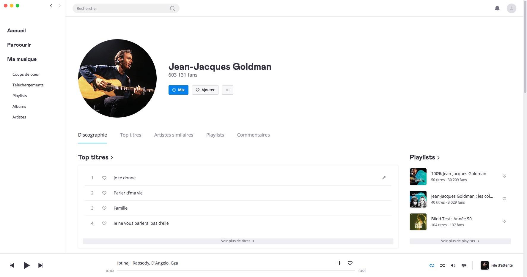 Jean-Jacques Goldman sur Deezer