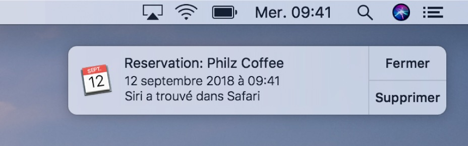 Notification reçue macOS