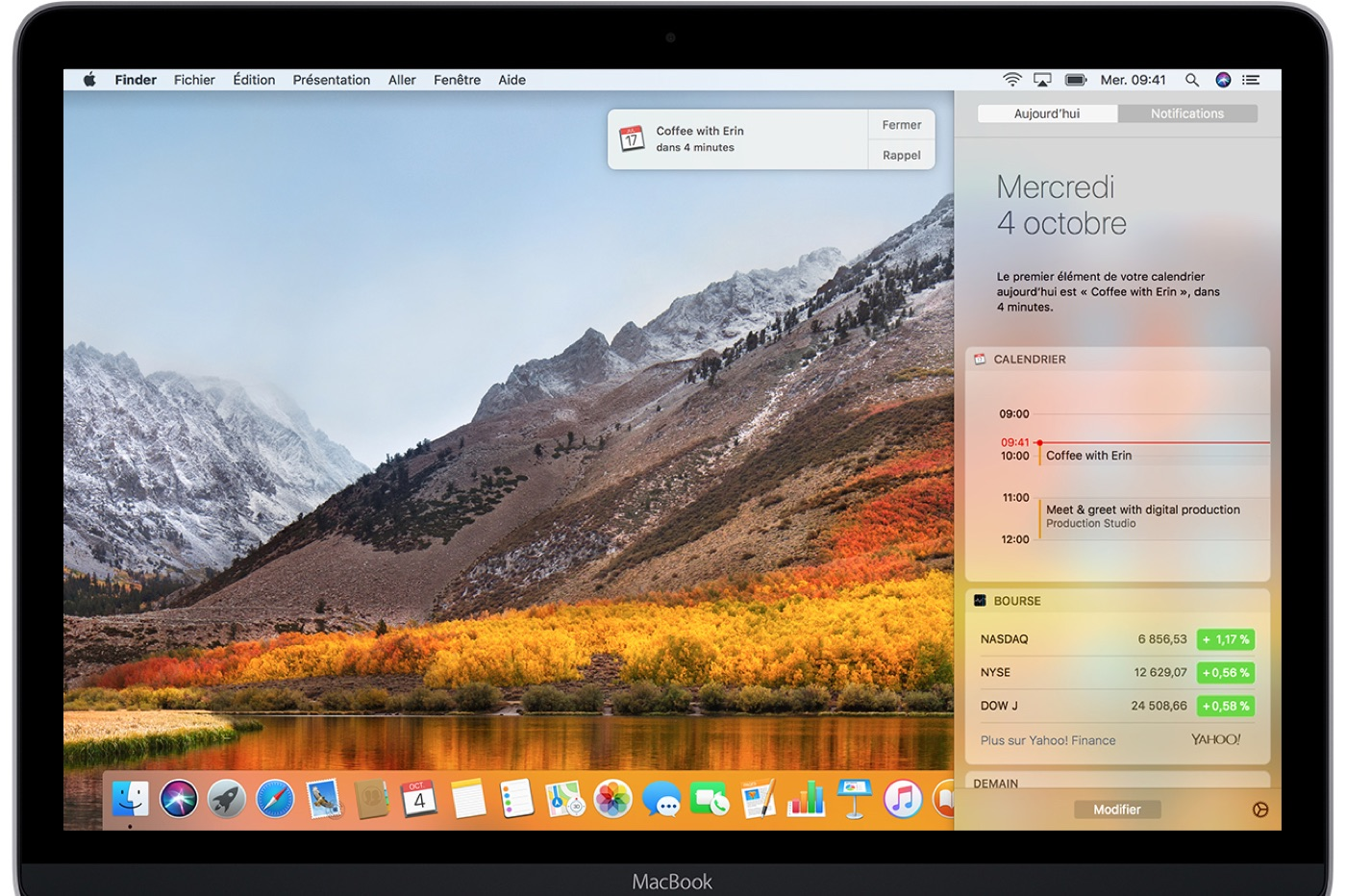 macOS panneau de notifications