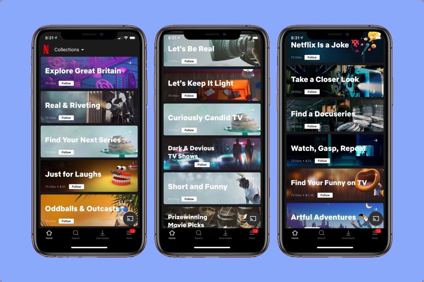 Netflix Collections sur app iPhone