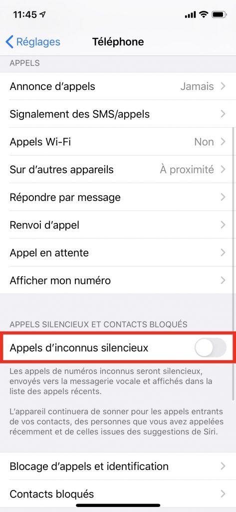 appels inconnus en silencieux sur iOS 13