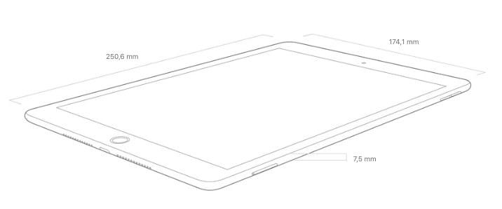 iPad 10,2 pouces dimensions
