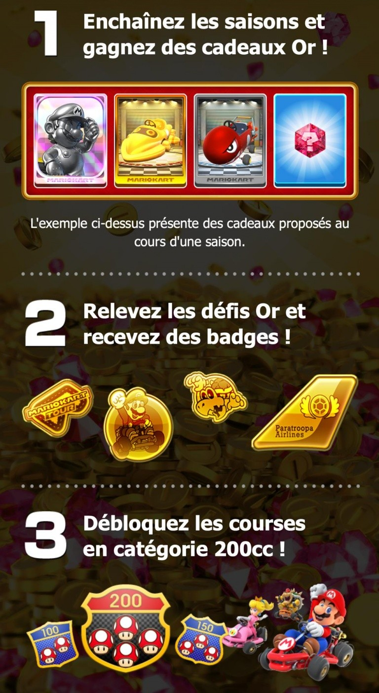 avantages du Pass Or de Mario Kart Tour