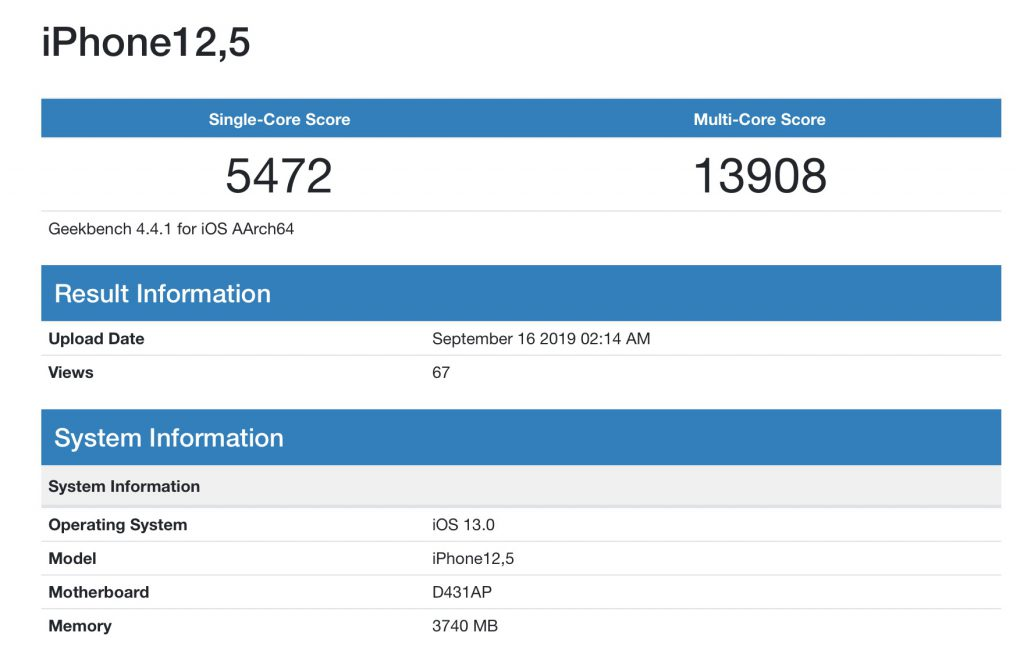 benchmark iPhone 11 Pro