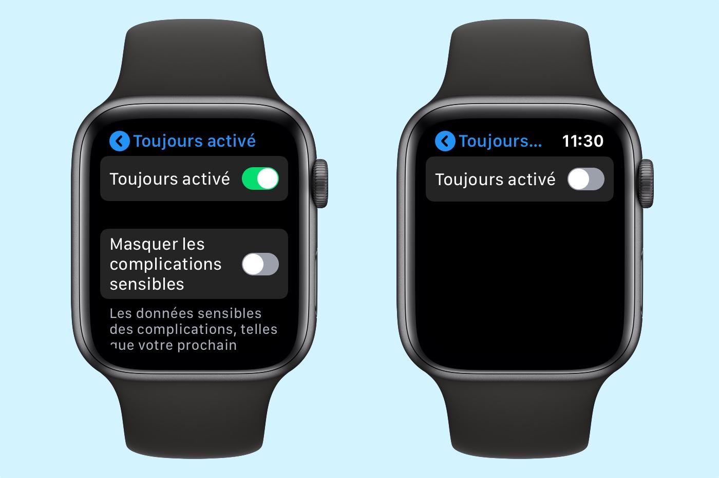 désactivation écran toujours allumé de Apple Watch 5