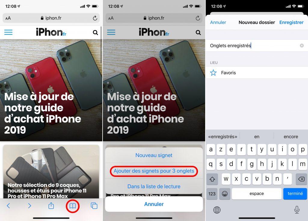 Enregistrer groupe d'onglets Safari avec iOS 13