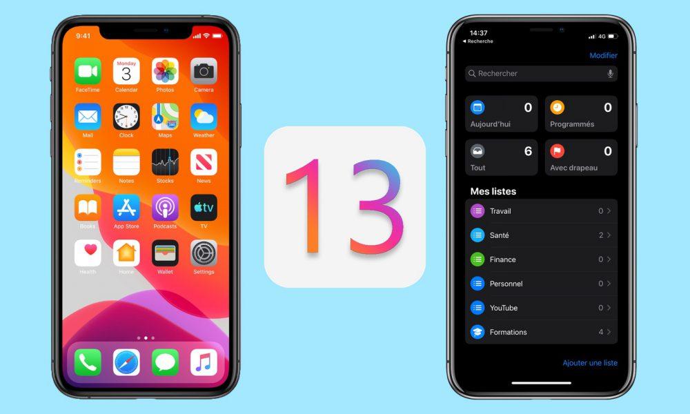iOS 13 sur iPhone