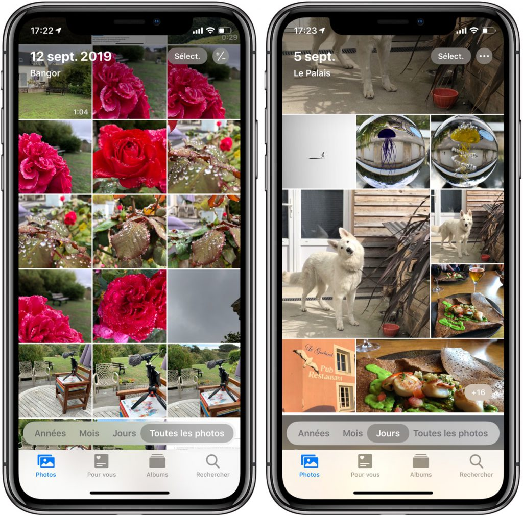 L'app Photos sous iOS 13