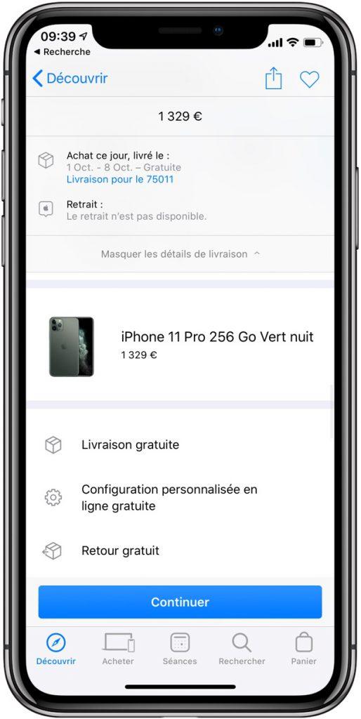 livraison iPhone 11 Pro