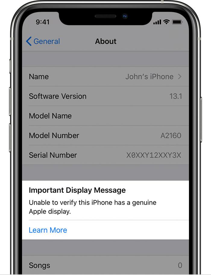 message alerte écran non d'origine pour iPhone 11/11 Pro