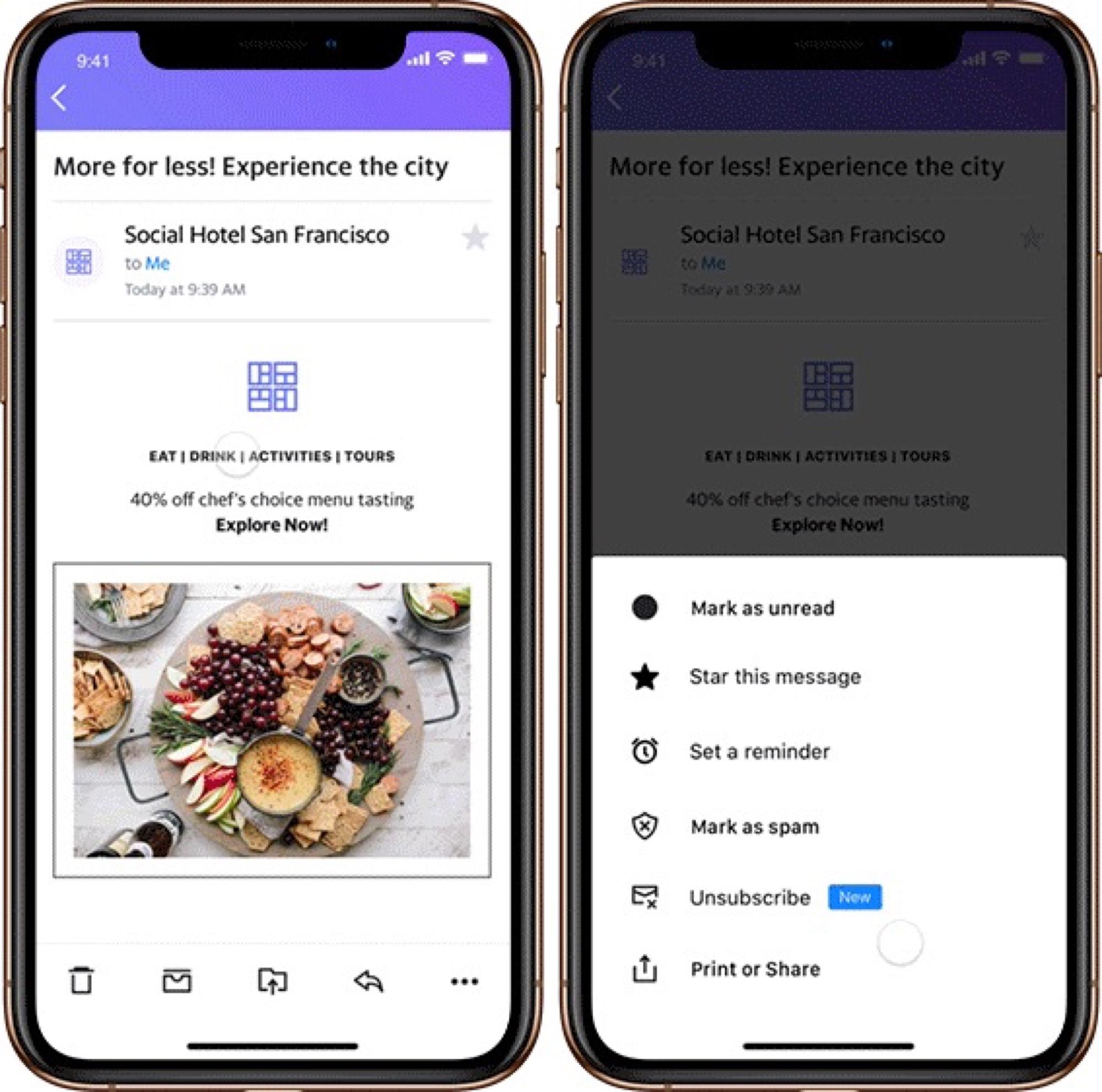 Nouvelle fonction Yahoo Mail desinscription newsletter iOS