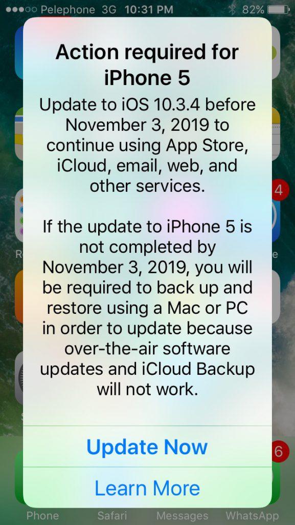 Alerte mis à jour iOS pour iPhone 5