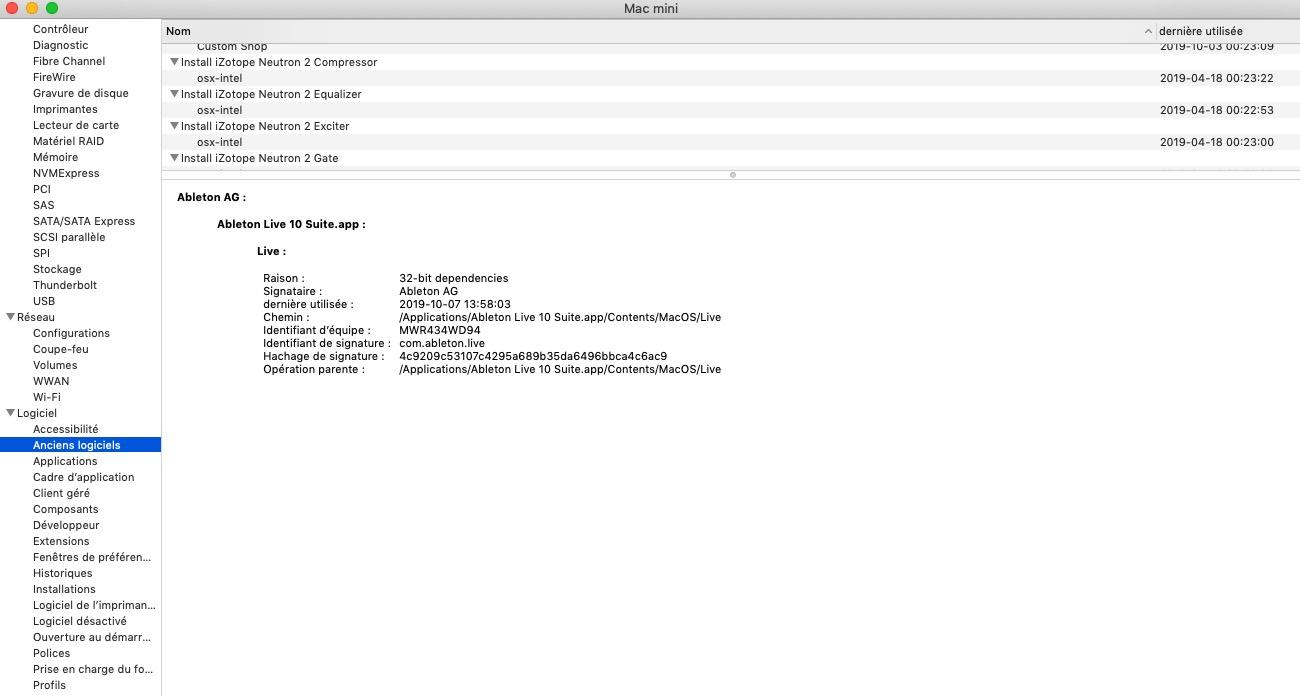 macOS Mojave liste apps 32 bits