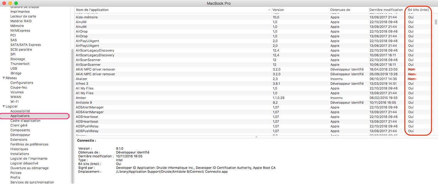 macOS Sierra liste apps 32 bits