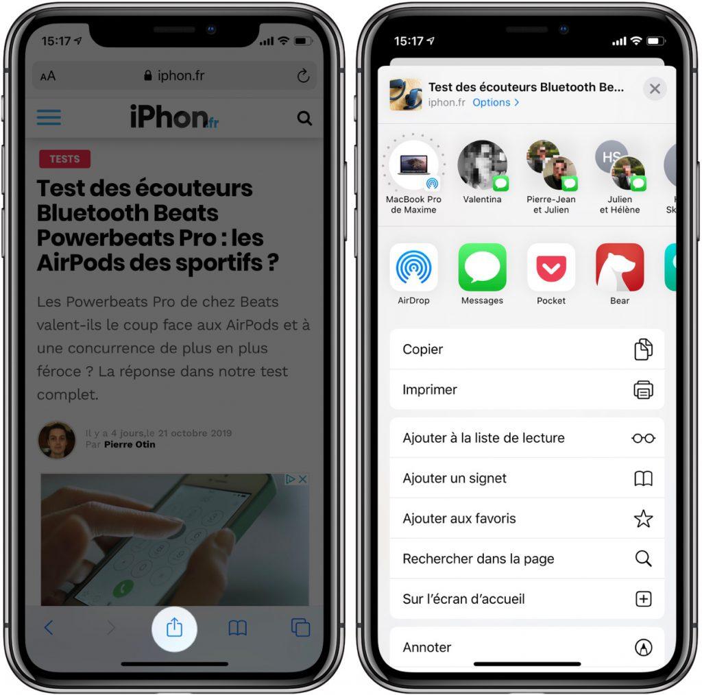 Menu de partage d'iOS 13