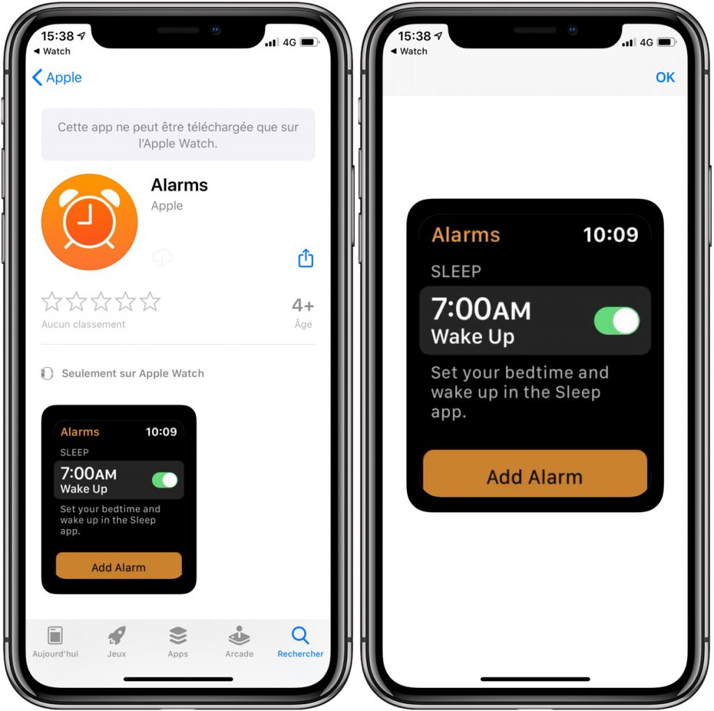 app Réveils Apple Watch
