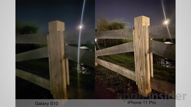 Galaxy s10 versus iPhone 11 Pro, photo de nuit