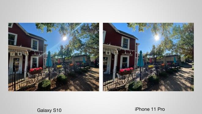 Galaxy s10 versus iPhone 11 Pro, photo soleil