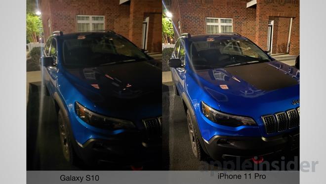 Samsung Galaxy s10 versus iPhone 11 Pro, nuit