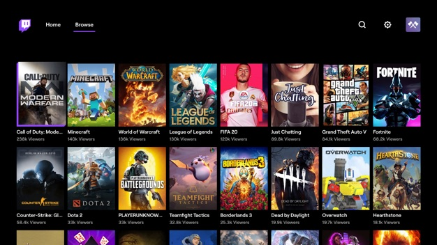 Twitch sur Apple TV