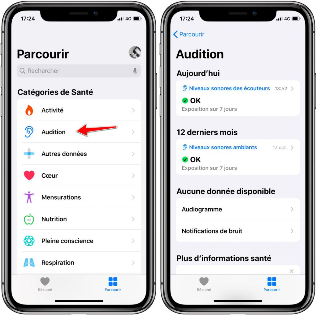 fonction audition iOS 13