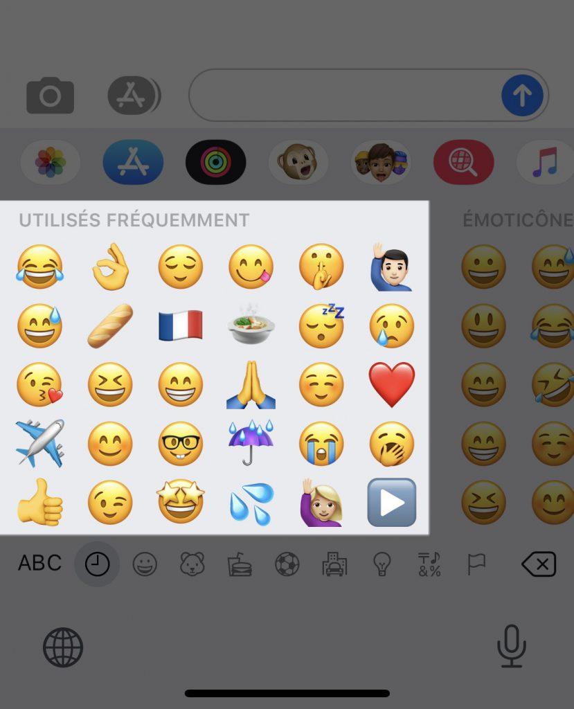 clavier Emojis utilisés