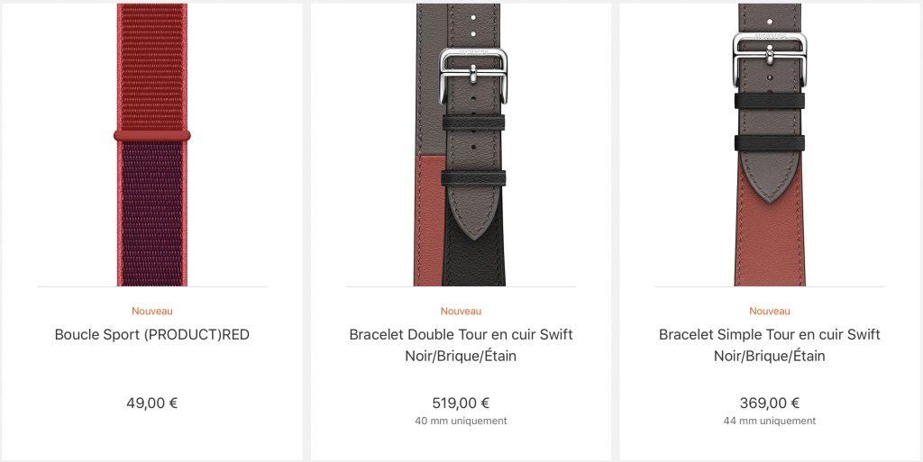 nouveaux bracelets Apple Watch
