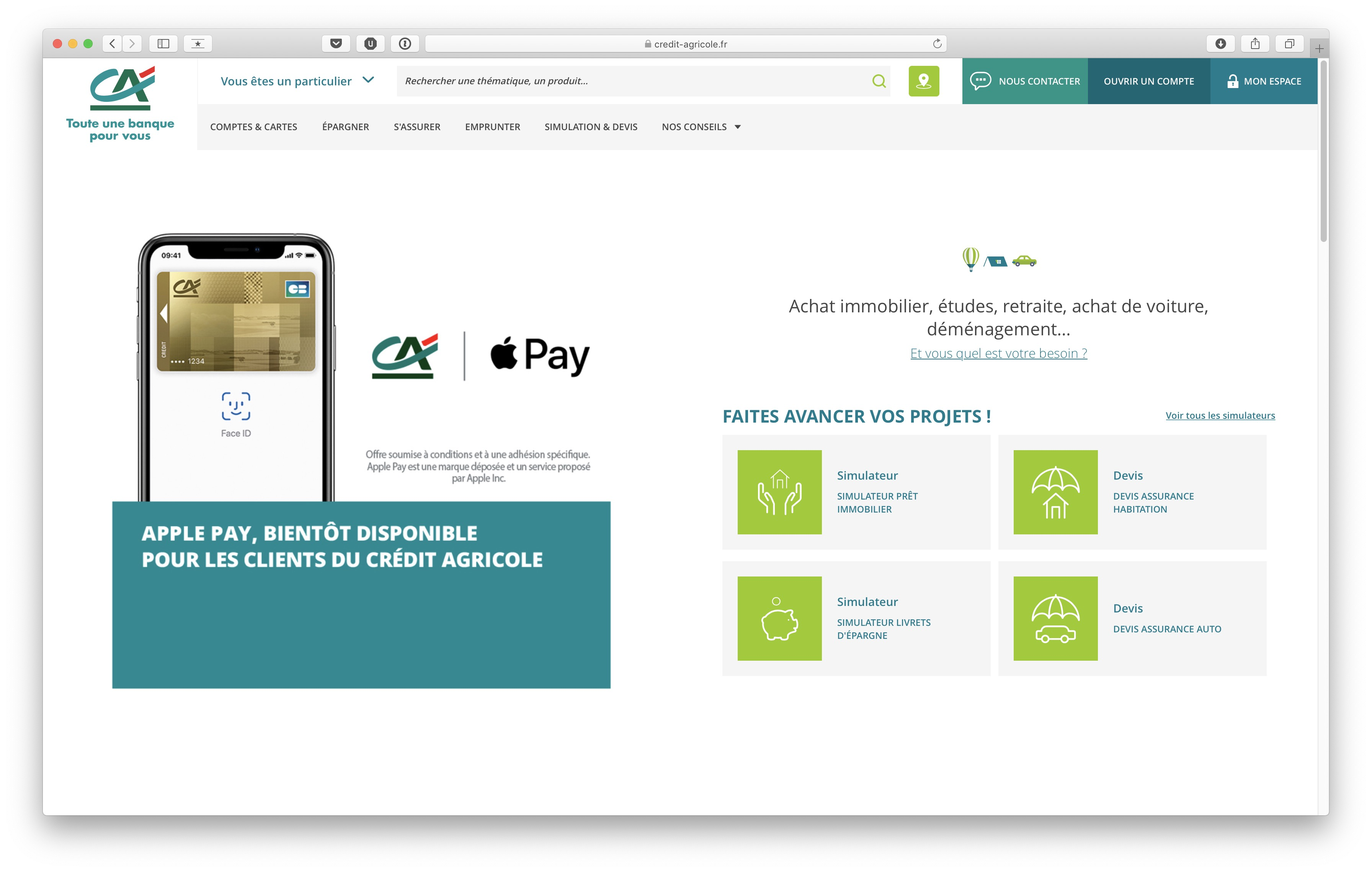 Apple Pay sur Credit Agricole