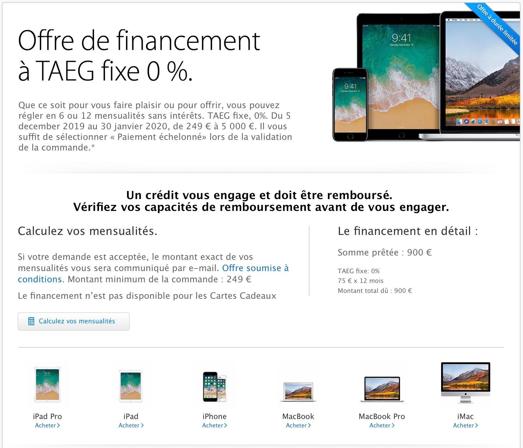 offre financement Apple Store