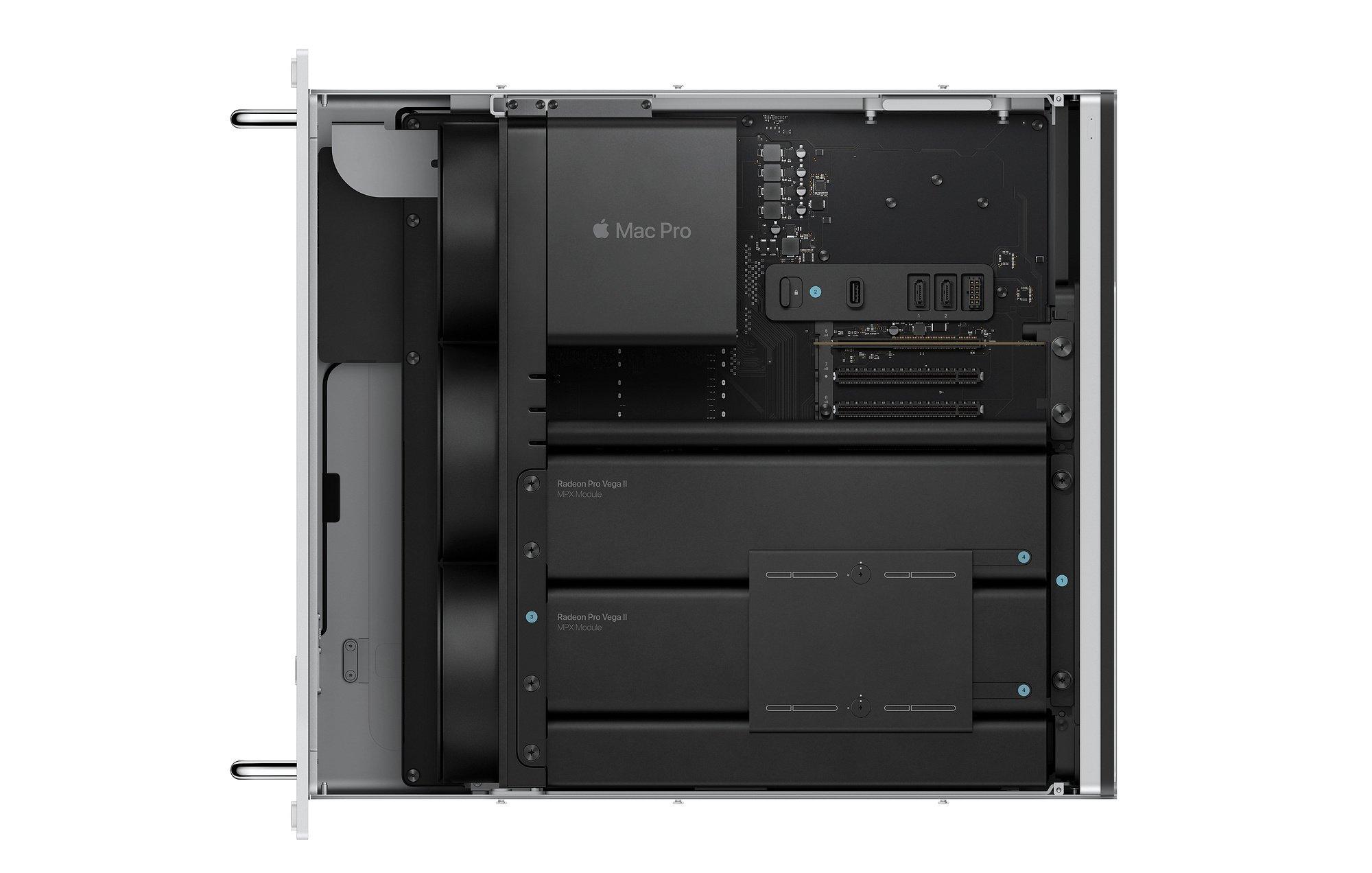 Mac Pro 2019 format rack, vue de l'intérieur