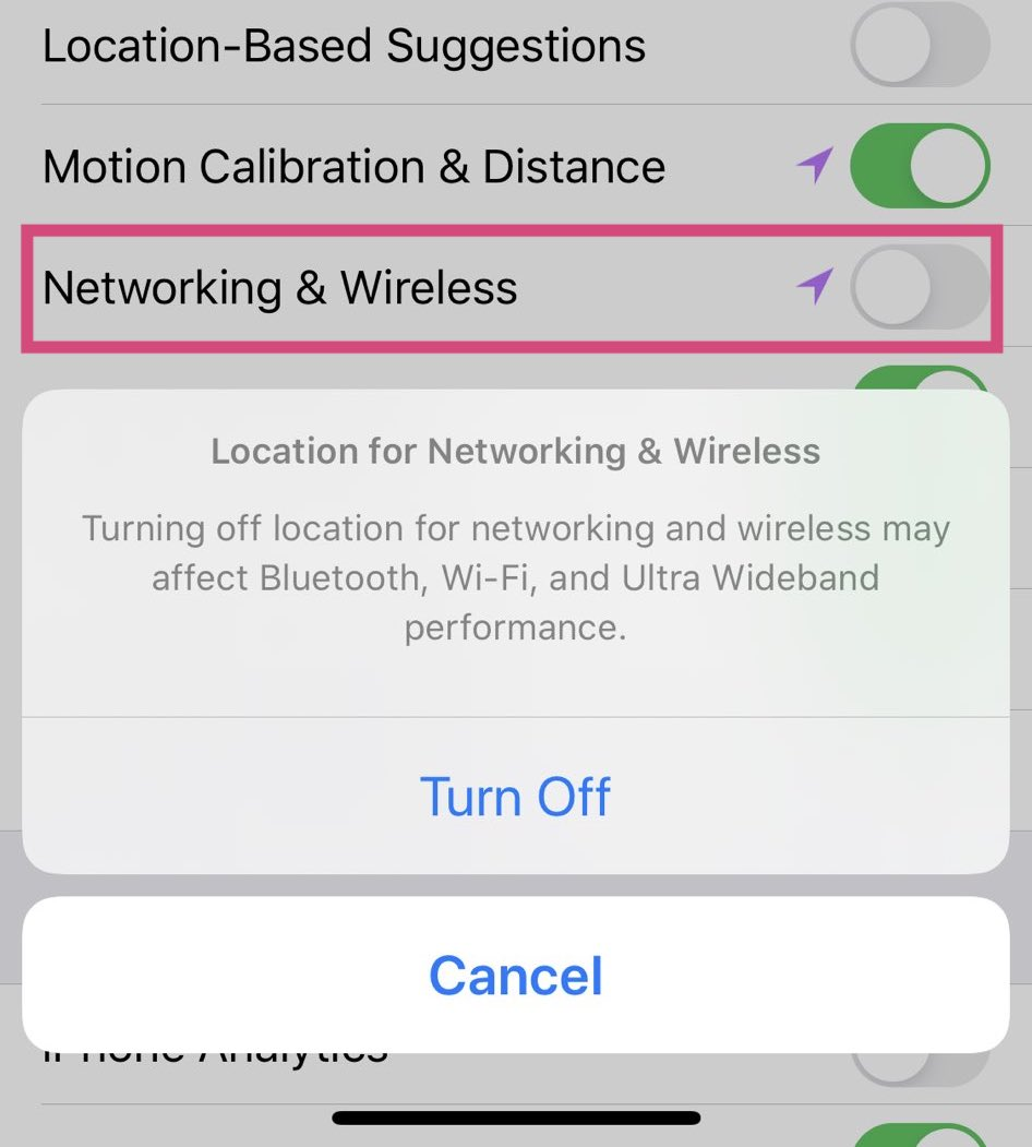 Désactivation UWB iOS 13.3.1