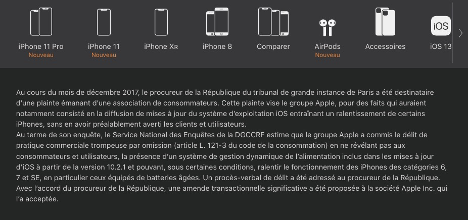 DGCCRF et site Apple