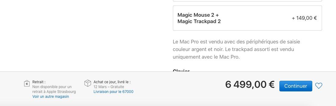 Mac Pro livraisons 1 mois