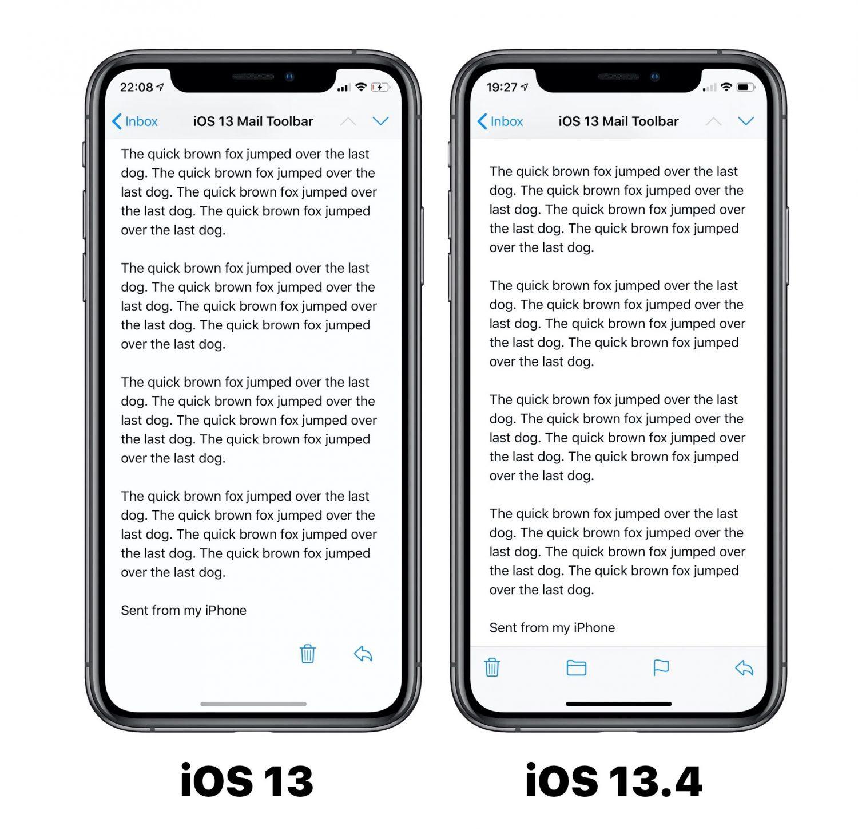 Changement de design application Mail iOS