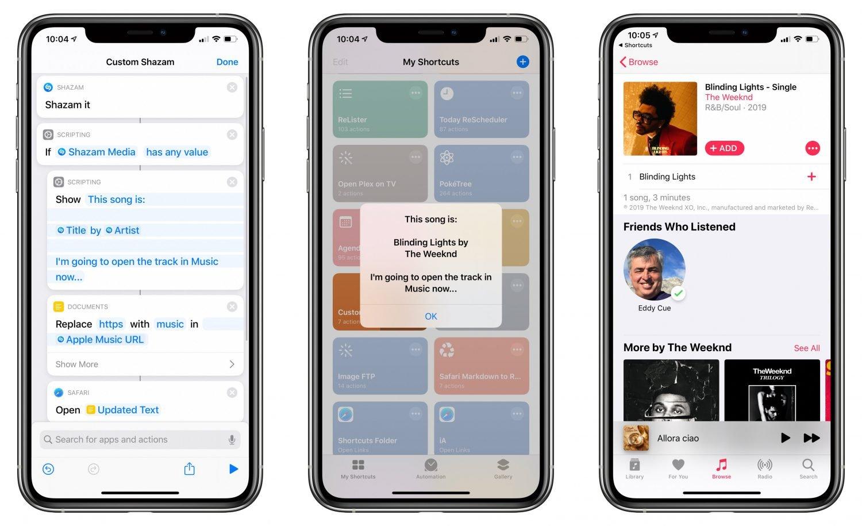 Raccourcis Shazam iOS 13.4