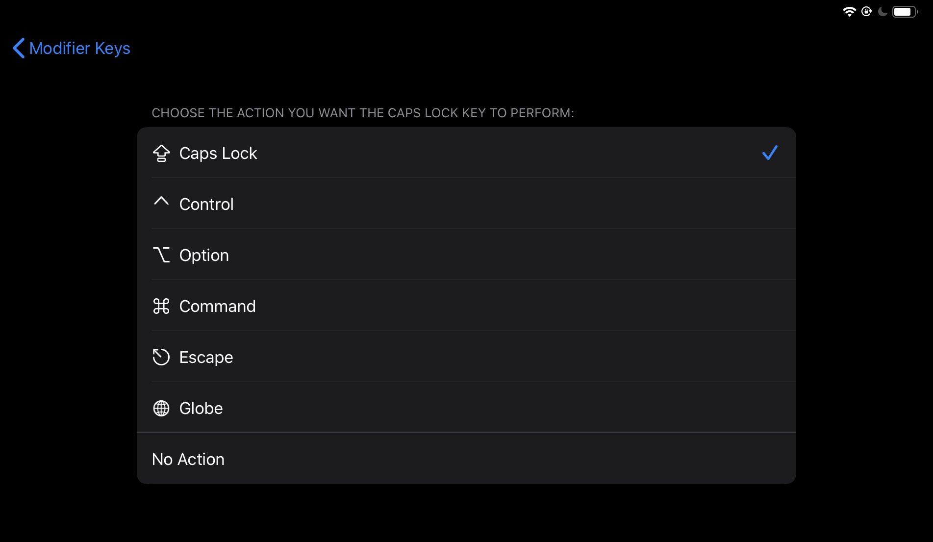 Réglage touches fonction iPadOS 13