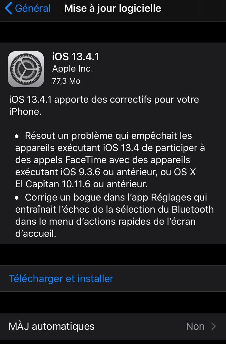 Mise à jour iOS 13.4.1