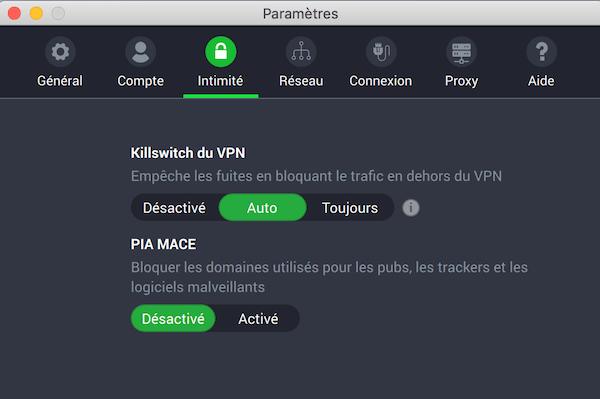 Fonctionnalites Private Internet Access