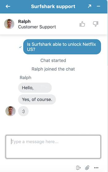 Support client Surfshark