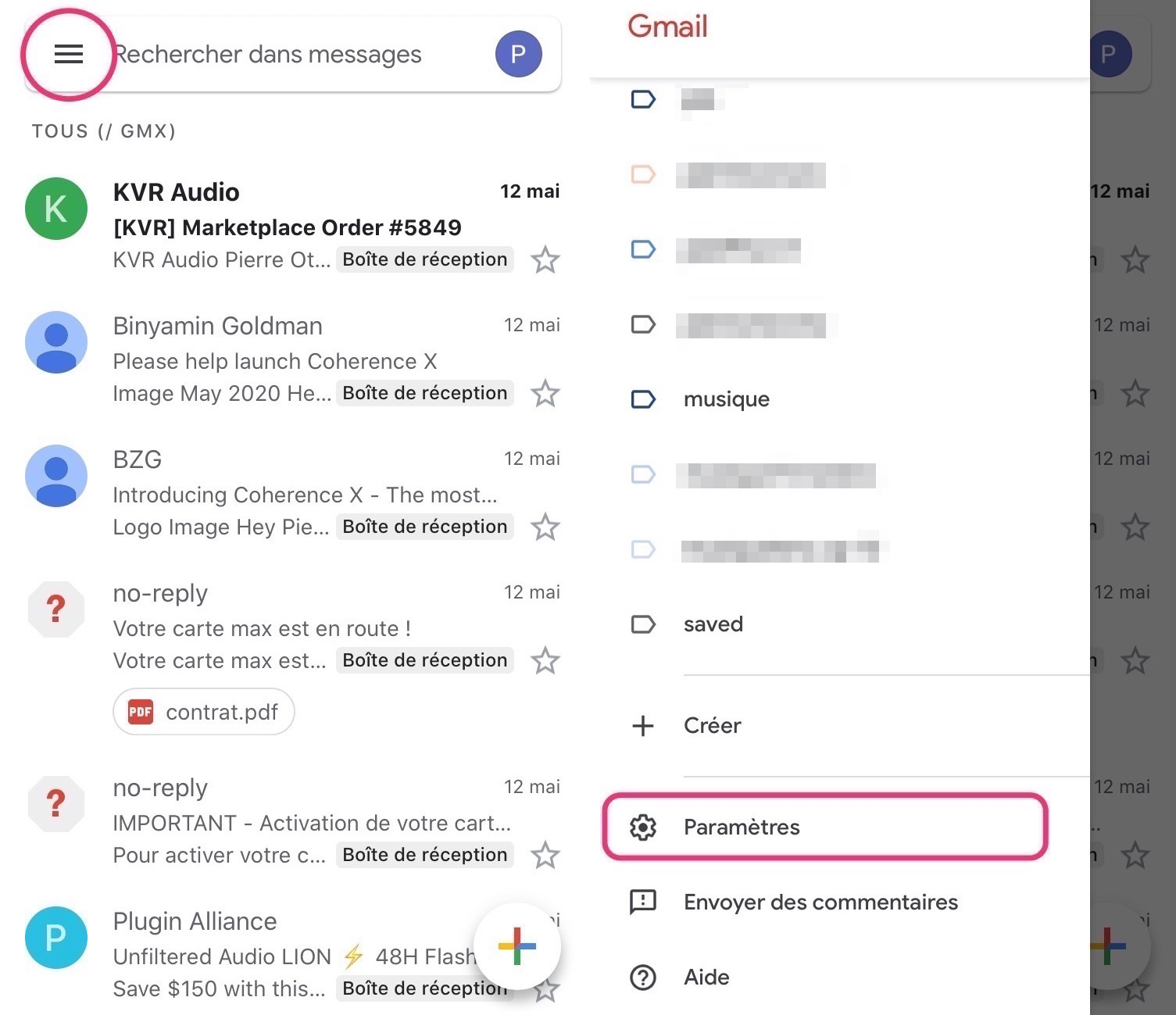 Comment activer mode sombre Gmail iPhone