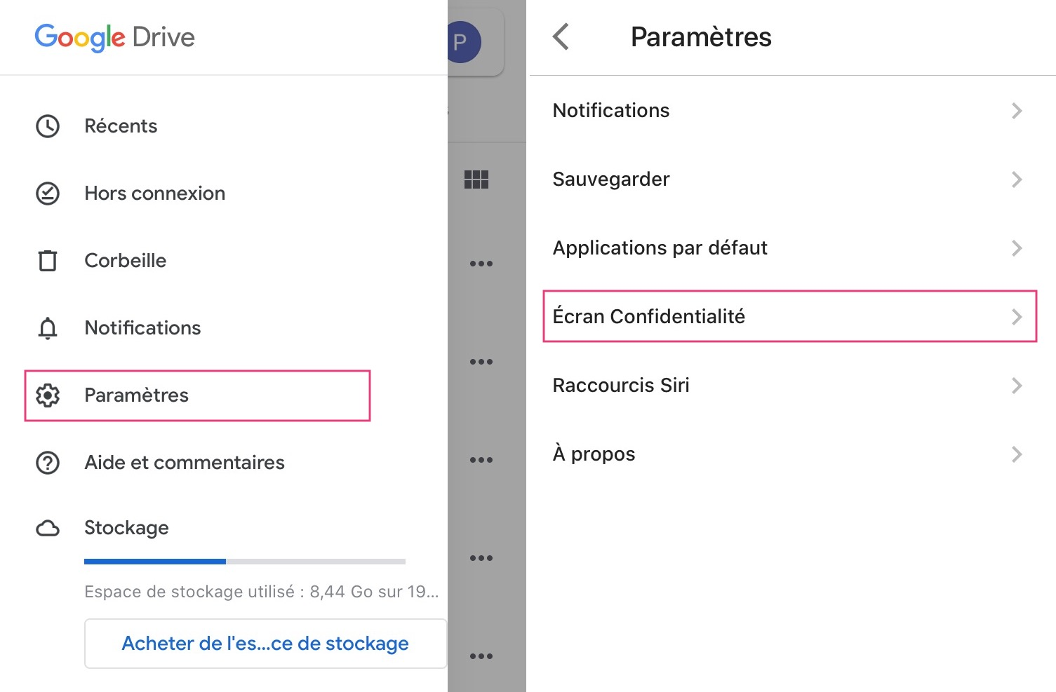 Face ID/Touch ID et Google Drive