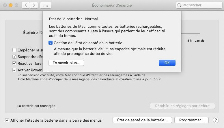 macOS 15.5.5 gestion batterie