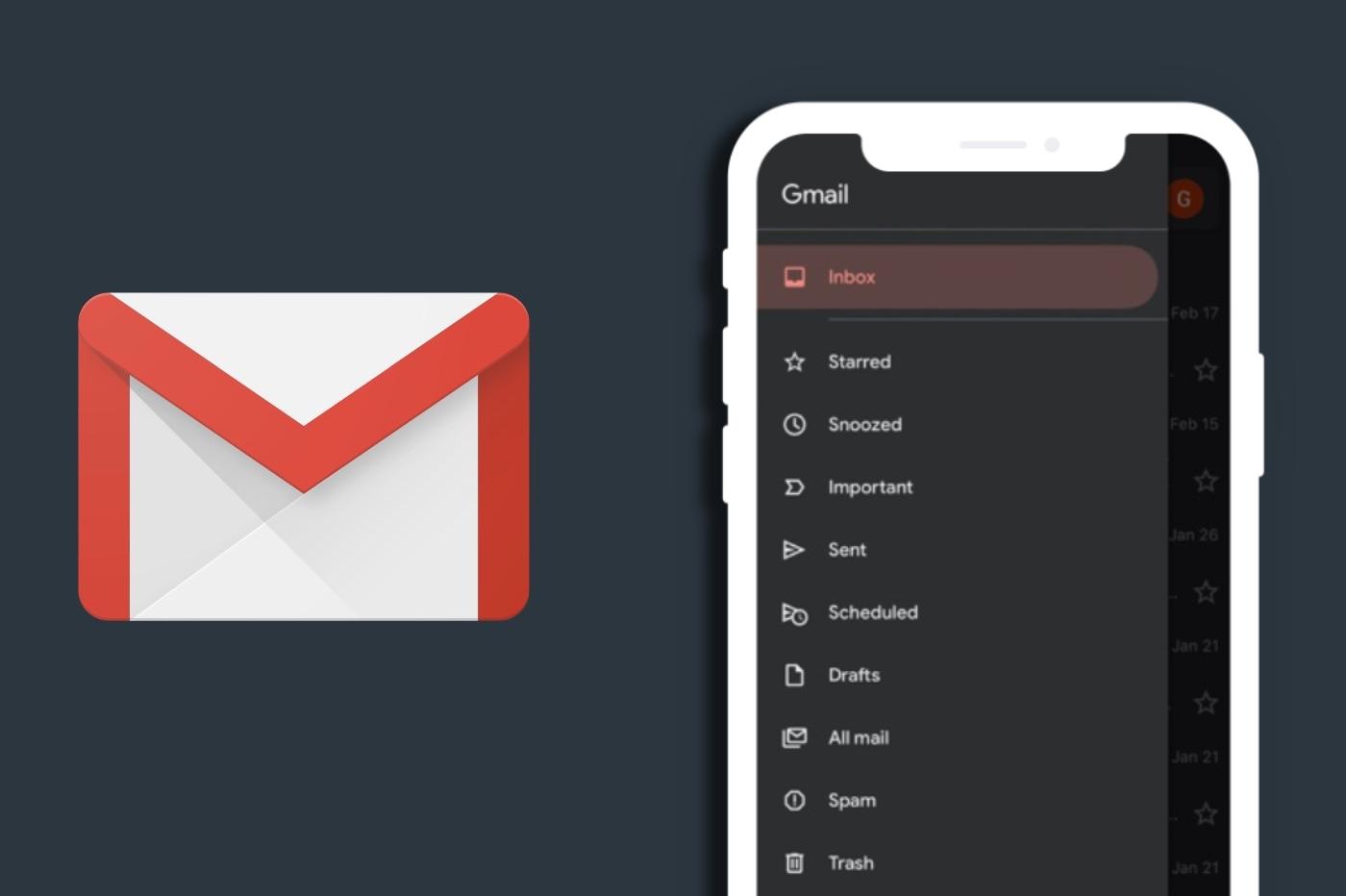 Mode sombre Gmail iOS