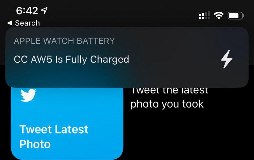 Watch notification batterie