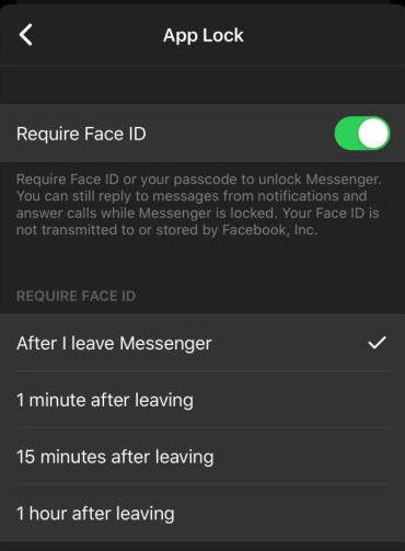 Face ID dans Facebook Messenger