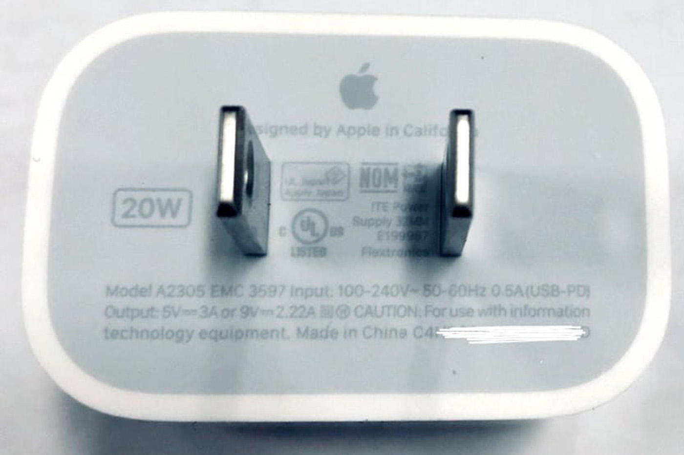 Chargeur 20 W iPhone 12