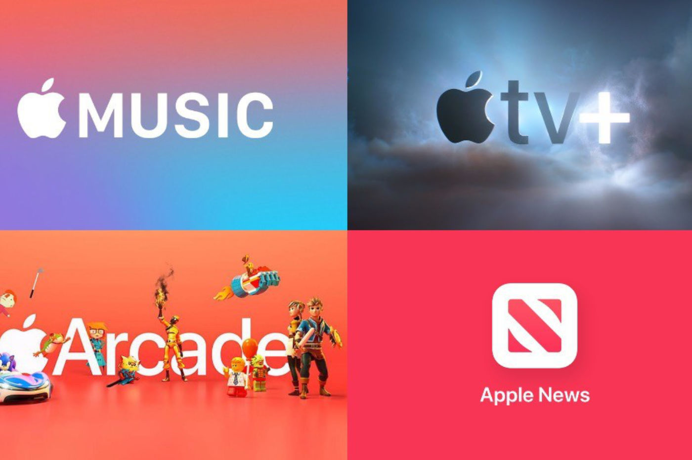 Les services Apple, Apple Music, Arcade, News et TV+