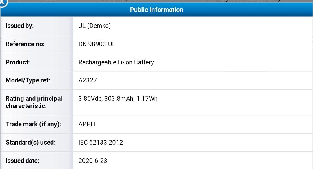 Fiche batterie Apple Watch Series 6