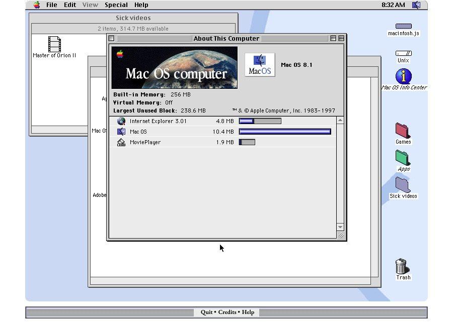 macOS 8 émulateur vintage